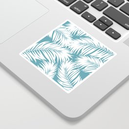 Palm Tree Fronds White on Soft Blue Hawaii Tropical Décor Sticker