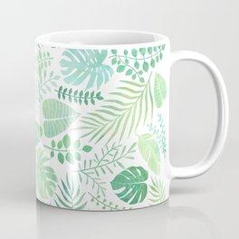 Green tropical leaves pattern Coffee Mug