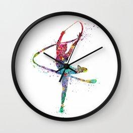 Rhythmic Gymnastics Print Sports Print Watercolor Print Wall Clock
