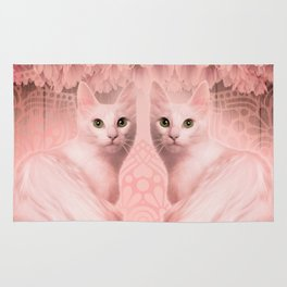 """Pink Pastel Doppelganger Cats at the Garden"" Rug"