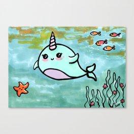 Cute narwhal Canvas Print
