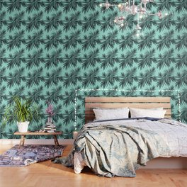 Palm Leaves Pattern Summer Vibes #7 #tropical #decor #art #society6 Wallpaper