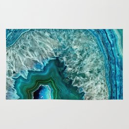 Aqua turquoise agate mineral gem stone - Beautiful Backdrop Rug
