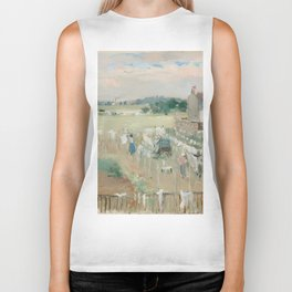 Hanging the Laundry out to Dry by Berthe Morisot Biker Tank