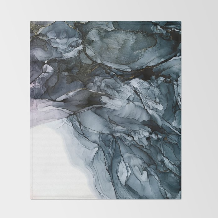Dark Payne's Grey Flowing Abstract Painting Throw Blanket