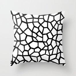 Memphis Milano style mosaic pattern, black and white pattern print Throw Pillow