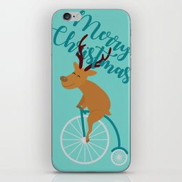 Mr Reindeer having Fun with his Penny-farthing Bicycle iPhone Skin
