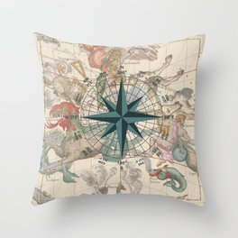 Compass Graphic with an ancient Constellation Map Throw Pillow
