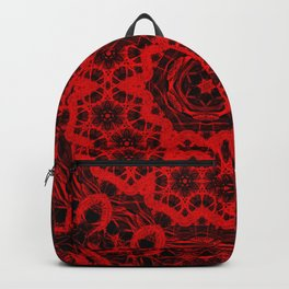 Vibrant red and black wattle mandala Backpack