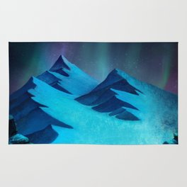 Aurora Borealis In The Mountain Pass Rug