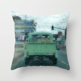 Rainy Days and Vintage Vehicles Throw Pillow