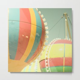 Up Up & Away I Carnival, fair, ride, hot air balloon, whimsical, fun rainbow, adventure, pastel,  Metal Print