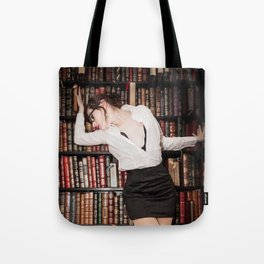 """""""Hot for Reading"""" - The Playful Pinup - Sexy Librarian Pin-up Girl by Maxwell H. Johnson Tote Bag"""