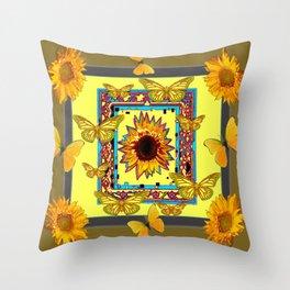WESTERN STYLE BUTTERFLIES-SUNFLOWERS ART Throw Pillow
