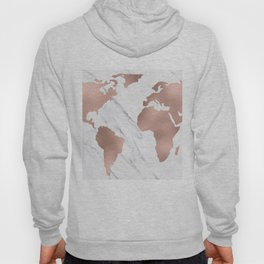 Marble World Map Rose Gold Pink Hoody