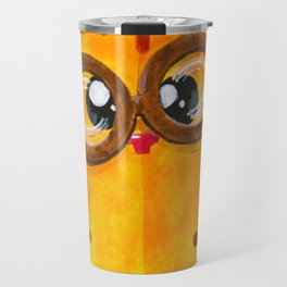 Funny Yellow Nerd Cat Travel Mug