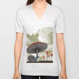 What's Underfoot -- Snail & Mushrooms Unisex V-Neck