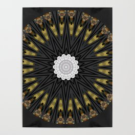 Dark Black Gold & White Marble Mandala Poster