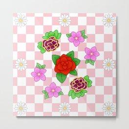 Pixel Flower Pattern Metal Print