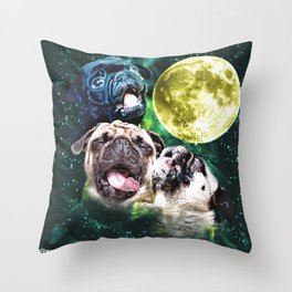 Howl at the Moon Pug Throw Pillow