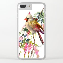 Cardinal Bird Earth Green Olive green Pink Clear iPhone Case