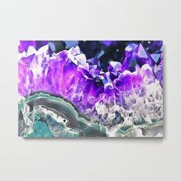 Purple Agate Crystal Metal Print