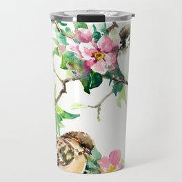 Sparrows and Apple Blossom Travel Mug