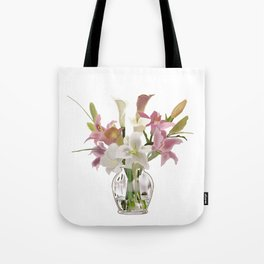 vase and flowers on white background . art Tote Bag