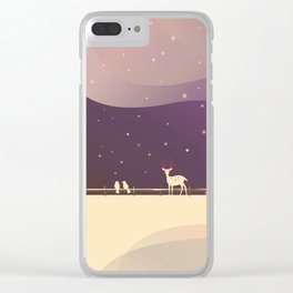 Peaceful Snowy Christmas (Plum Purple) Clear iPhone Case