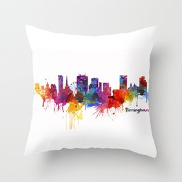 Birmingham Watercolor Skyline Throw Pillow