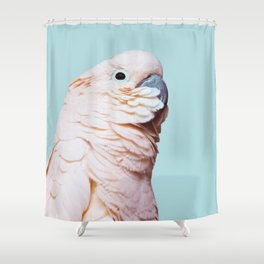 Parrot Photography | Pink Bird |  Tropical | Exotic | Turquoise Art | Blush Pink Shower Curtain