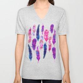 Watercolor Pink Blue Feathers V.02 Unisex V-Neck