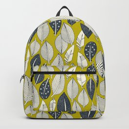 leaves and feathers chartreuse Backpack