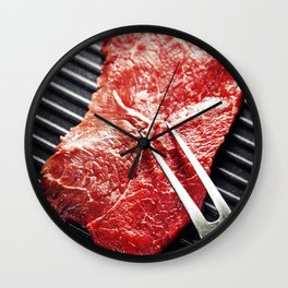 Marbled beef steak with meat fork  in a grill pan Wall Clock