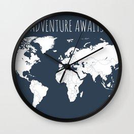 Adventure Awaits World Map in Navy Blue Wall Clock