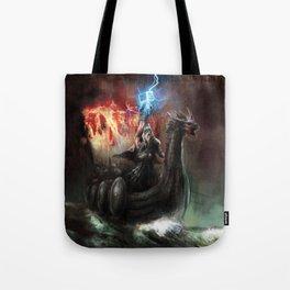 Dragon Viking Ship Tote Bag