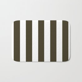 Pullman Green brown - solid color - white vertical lines pattern Bath Mat