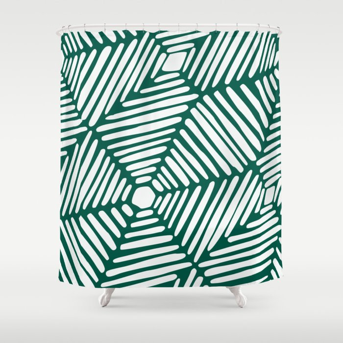 Teal Tribal Lines Shower Curtain By Hellcom