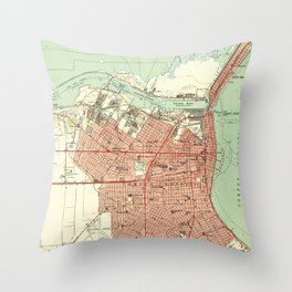 Vintage Map of Corpus Christi Texas (1951) Throw Pillow
