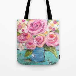 Shabby Chic Pink Rose Farmhouse Flowers Tote Bag