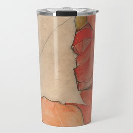 Egon Schiele - Kneeling Female in Orange-Red Dress Travel Mug