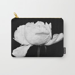 White Peony Black Background Carry-All Pouch