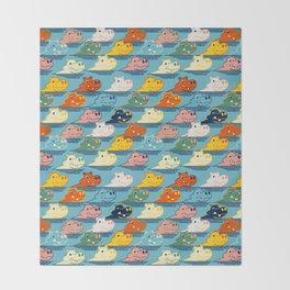 Happy Hippo Family Throw Blanket
