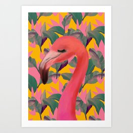 Flamingo with retro Luxe Lilies Art Print