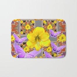 LILAC BUTTERFLIES & YELLOW AMARYLLIS FLOWERS Bath Mat