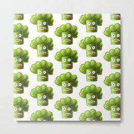 Funny Broccoli Pattern Metal Print