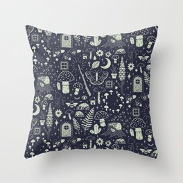 Fairy Garden: Midnight Throw Pillow