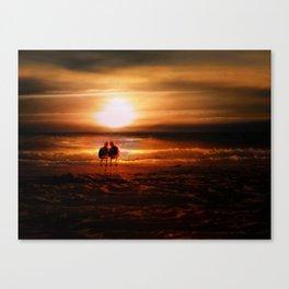 Seagulls - Lovebirds at Sunset Canvas Print
