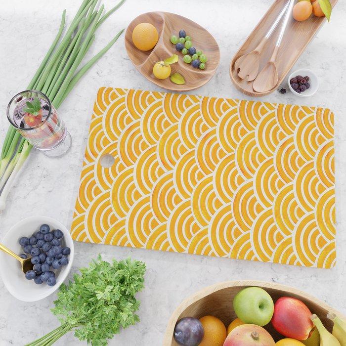 Japanese Seigaiha Wave – Marigold Palette Cutting Board