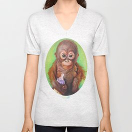 Budi the Rescued Baby Orangutan Unisex V-Neck